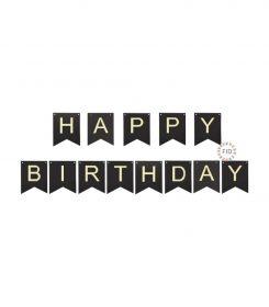 Banderín Happy Birthday Negro