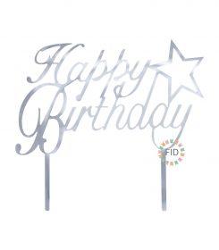 Topper Happy Birthday Estrella Plateado