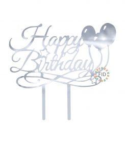 Topper Happy Birthday Globo Plateado