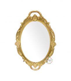 Bandeja Circular Dorado con Espejo