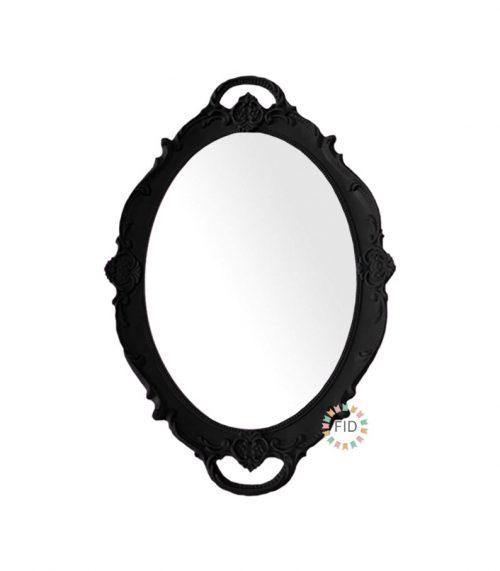 Bandeja Circular Negro con Espejo